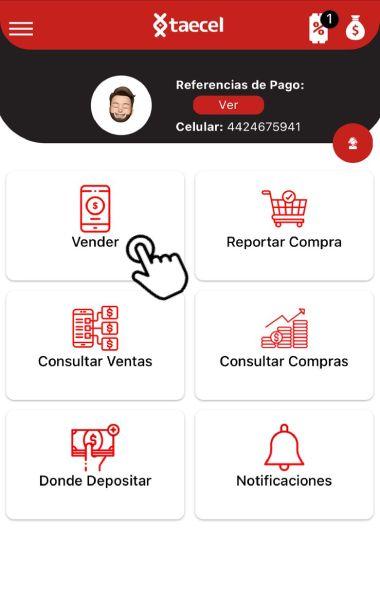 Selecciona vender en el menú de la app