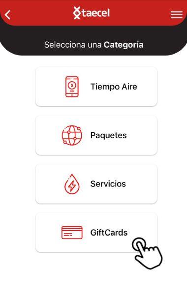 Selecciona la categoría de Giftcards