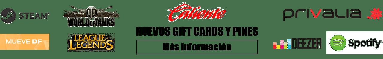 pago de servicios, nuevos gift cards y pines